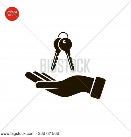 Hand With Keys Icon On The White Background