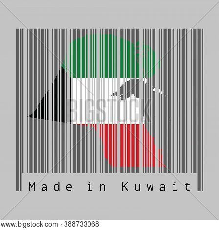 Barcode Set The Shape To Kuwait Map Outline And The Color Of Kuwait Flag On Dark Grey Barcode With G
