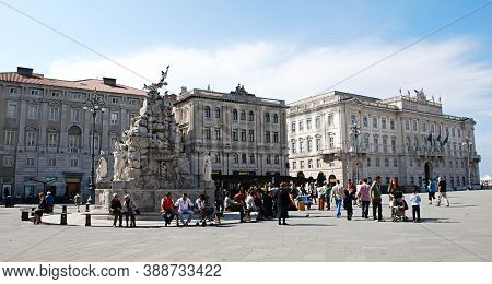 Trieste / Italy - Otober 10, 2010: Piazza Unità D\'italia, Unity Of Italy Square. Main Square In Tri