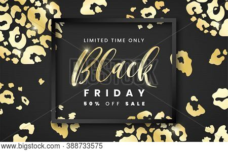 Sale Black Friday Banner 50 Percent Off With Black Frame And Golden Leopard Skin Texture Spots On Bl