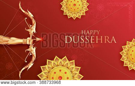 Illustration Of Lord Rama Holding Bow And Arrow In Happy Dussehra Festival Of India Background