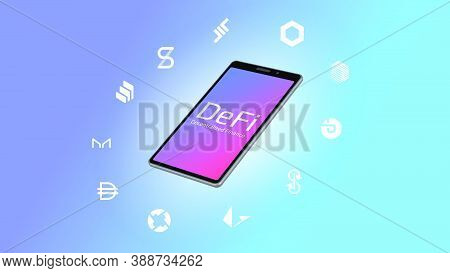 Realistic Isometric Smartphone With Defi Decentralized Finance Text And Coins Icons Around On A Ligh