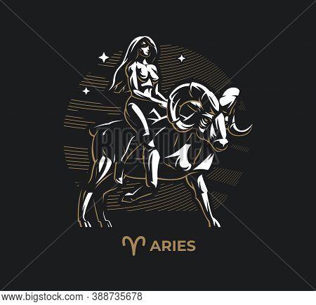 Aries Zodiac Sign. Zodiac, Astrology, Stars. A Woman Rides A Ram Or A Goat.