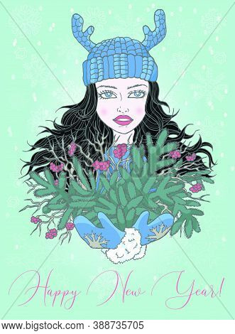 Christmas And New Year Greeting Card With Happy Girl Holding Bunch Of Conifer Evergreen Branches. Ve