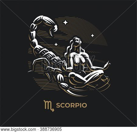 Scorpio Zodiac Sign. Zodiac, Astrology, Stars. A Woman Is Riding A Scorpion. Scorpion Sting. Claws.