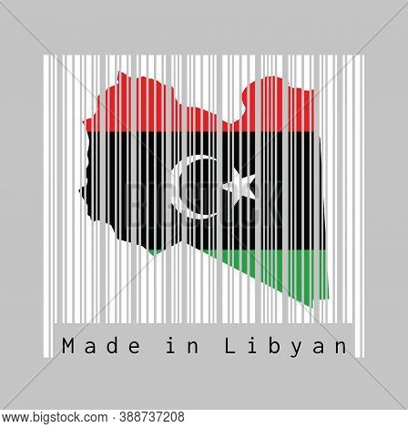 Barcode Set The Shape To Libya Map Outline And The Color Of Libya Flag On White Barcode With Grey Ba