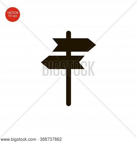 Flat Image Of The Signpost Icon. Vector Illustration 10 Eps