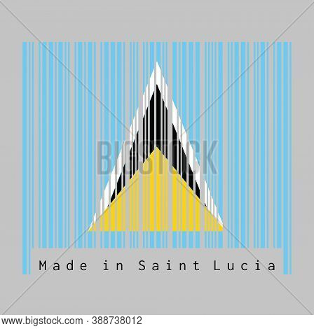 Barcode Set The Color Of Saint Lucia Flag, A Light Blue Field With Golden Black And White Triangle.