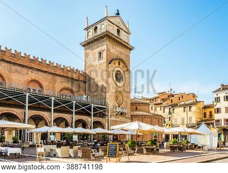 Mantua,italy - September 8,2020 - View At The Automatic Clock Tower In Mantua. Mantua Is A City And