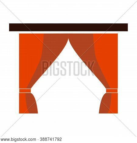 Red Curtain Icon On White Background. Curtain Sign.  Theatre Stage Symbol. Flat Style.