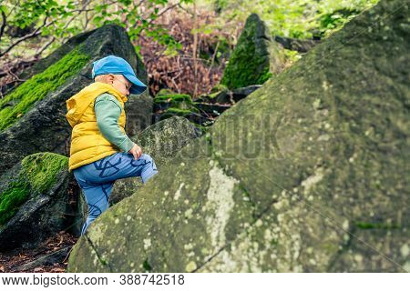 Little Boy Hiking And Climbing In Mountains, Family Adventure. Small Child Walking In Rocky Green Fo
