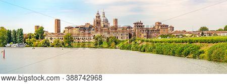Panoramic View At The City Of Mantova (mantua) With  Lake (lago Di Mezzo) - Italy