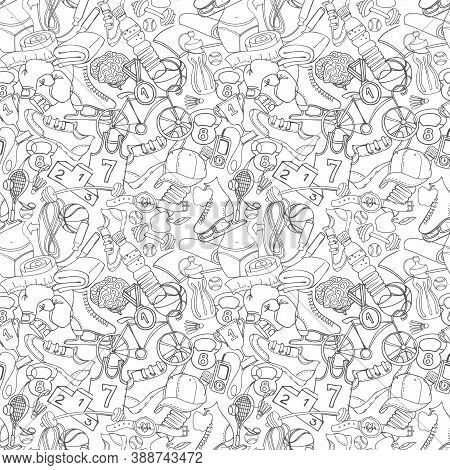 Black And White Sport, Fitness, Functional Training Background Seamless Hand Drawn Doodle Style Patt