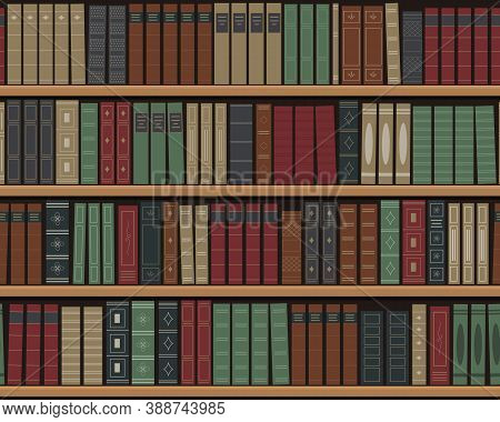 Bookshelves With Books. Seamless Background. Old Books On The Shelves. Library Of Retro Books. Books