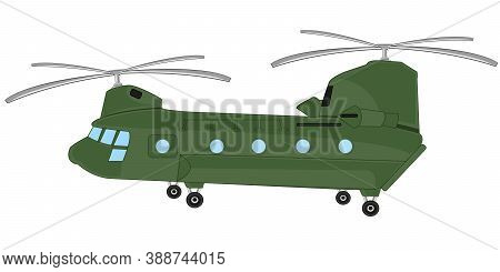 American Helicopter On White Background Is Insulated