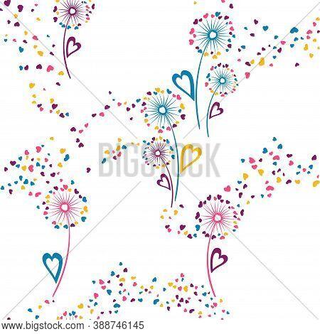 Dandelion Flowers Lovely Vector Seamless Pattern. Fabric Print Design. Organic Dandelion Blowing Flo