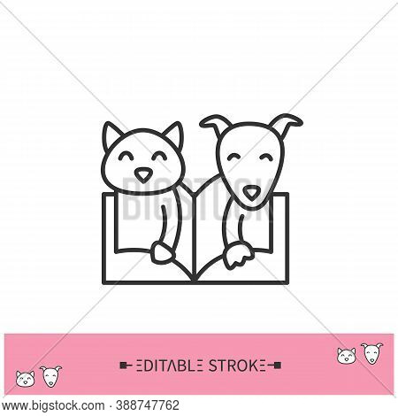 Animal Book Line Icon. Domestic Pets Behavior And Habits Guide Book. Animal Training. Study Of Anima
