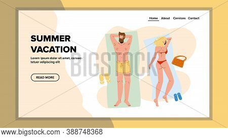 Summer Vacation Suntanning Family Couple Vector. Husband And Wife Lying On Sandy Beach And Relaxing