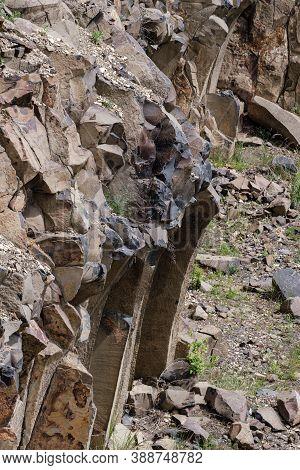 Summer Basalt Pillars Geological Reserve And Basalt Guarry Near Basaltove Lake, Kostopil District Of