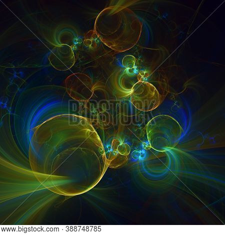Computer Generated Multi Colored Fractal Background. Abstract Solar System Over Dark Space