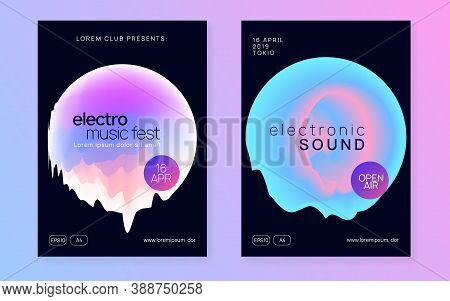 Music Flyer Set. Fluid Holographic Gradient Shape And Line. Minimal Indie Event Banner Template. Ele
