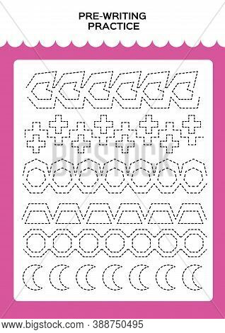 Tracing Practice For Kids. Pre-writing Worksheet For Little Children. Prescool Or Kindergarten Super