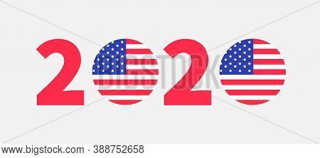 2020 Red Blue Text. Vote President Election Day. Badge Button Icon With American Flag Star And Strip