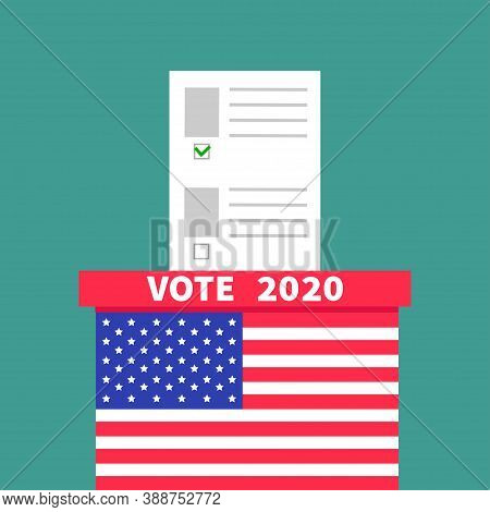 President Election Day. Vote 2020. American Flag Ballot Voting Box With Paper Blank Bulletin Concept