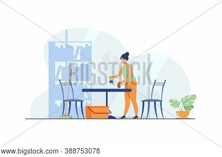 Woman Cleaning And Washing Home. Table, Apartment, House Flat Vector Illustration. Housekeeping And