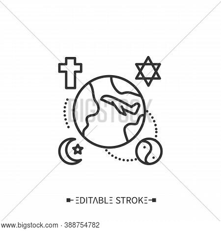 Religious Tourism Line Icon. Faith Tourism. Travelling To Holy, Sacred Places Or Cities. Pilgrimage.
