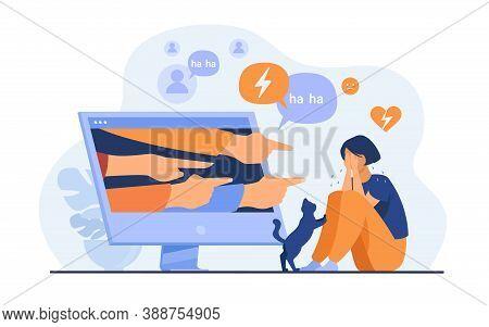 Social Media Bullying. Haters Pointing Fingers Frim Monitor At Victim, Laughing At Crying Girl. Flat