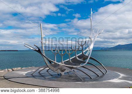 Reykjavik, Iceland - June 19, 2020: The Sun Voyager Sculpture By Jon Gunnar Arnason.