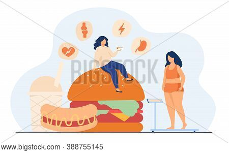 Fat Woman Keeping Unhealthy Diet, Eating Junk Food, Having High Cholesterol And Health Problem. Vect