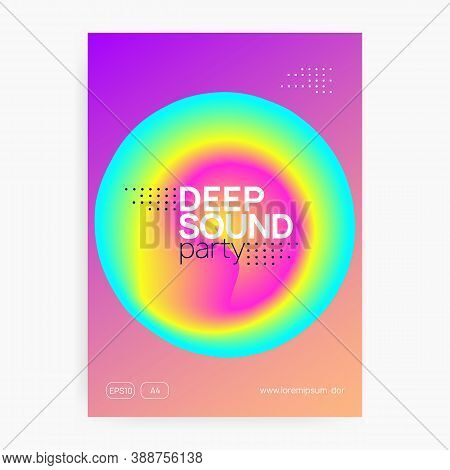 Music Poster. Fluid Holographic Gradient Shape And Line. Wavy Indie Concert Brochure Template. Elect
