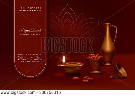 Diwali Festival Banner. Realistic 3d Vector Composition Of Brass Diya Lamp For Diwali Festival And T