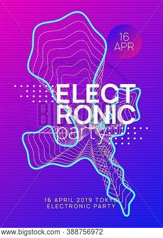 Techno Event. Dynamic Gradient Shape And Line. Abstract Concert Brochure Template. Neon Techno Event