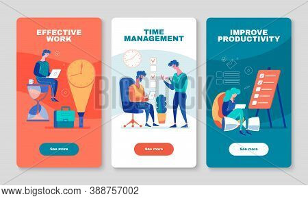 Improving Work Productivity With Effective Time Management Apps 3 Vertical Mobile Screen Colorful Ba