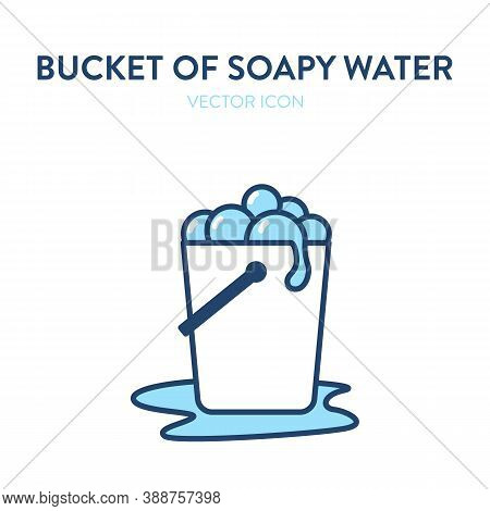 A Bucket For Floor Washing Outline Icon. Vector Illustration Of A Bucket Full Of Soapy Water For Cle