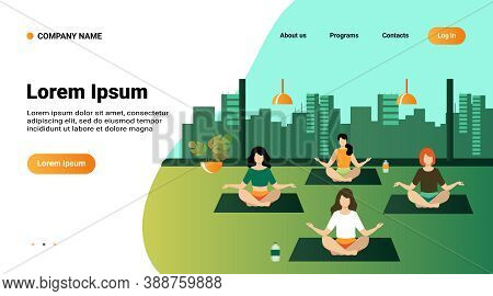 People Practicing Yoga. Women Exercising At Yoga Class, Sitting In Lotus Pose, Meditating With Teach