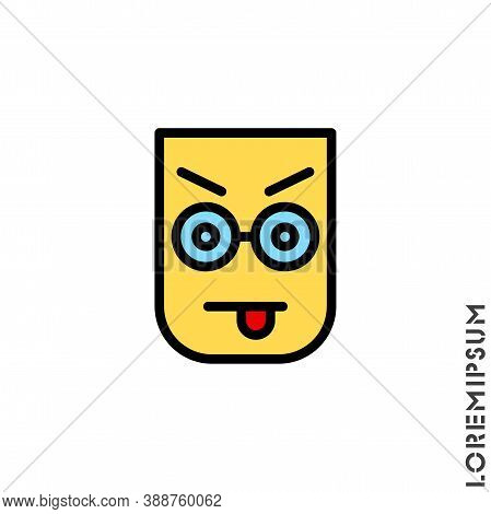 Mocking Teasing And Angry Color Icon. Showing Tongue And Frowning Eyebrows Emoticon Icon Vector Illu