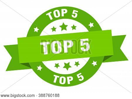 Top 5 Round Ribbon Isolated Label. Top 5 Sign