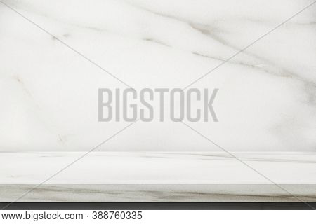 Marble Stone Top Table Grunge Texture Background With Marble Wall For Use Display Product.