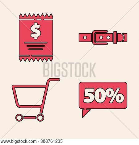Set Fifty Discount Percent Tag, Paper Check And Financial Check, Leather Belt And Shopping Cart Icon