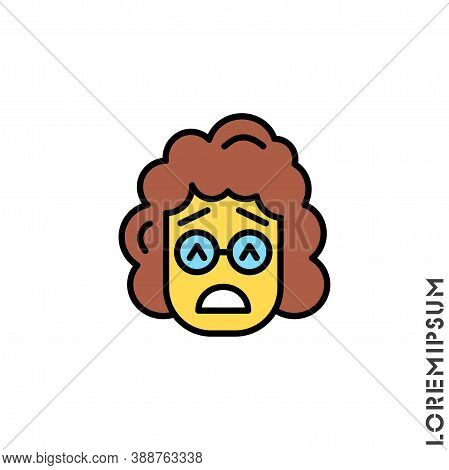 Sad Give Up Tired Emoticon Yellow Girl, Woman Icon Vector Illustration. Style. Very Sad Cry Stressfu