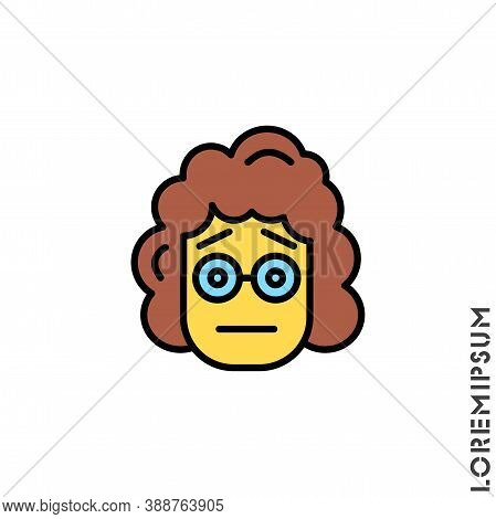 Cute Yellow Girl, Woman Icon Emoticon Sticker, Vector Illustration. Embarrassed Shy Blushing Face Em