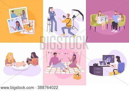 Photography Composition Set With Special Occasion Symbols Flat Isolated Vector Illustration