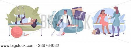 Fracture Composition Flat Isolated Icon Set With Physiotherapy X Ray And Bandaging Vector Illustrati
