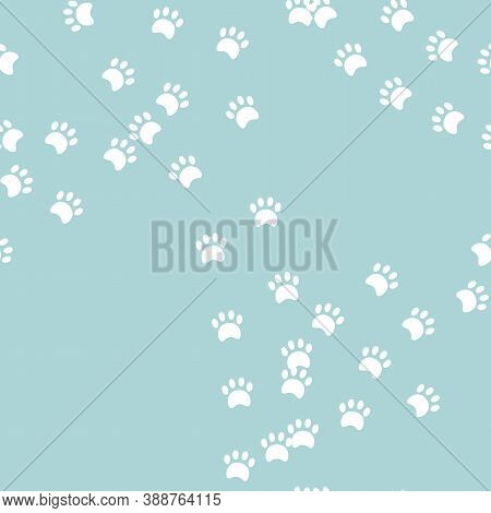 Animal Seamless Pattern. Pawprint In Turqoise Background. Pattern For Textile, Fabric And Paper. Vec