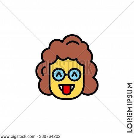 Teasing Yellow Emoji. Vector Girl, Woman Icon Of Cartoon Teasing Emoji With Tongue And Winking Eyes