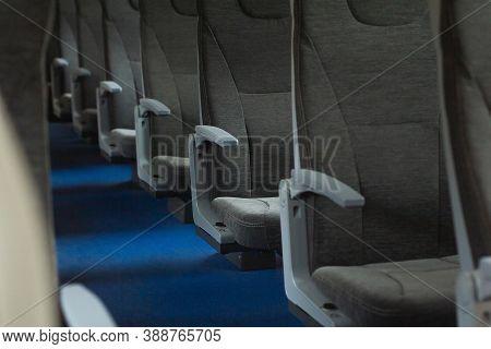 Railroad Train Interior. Inside Of Russian Suburban Train